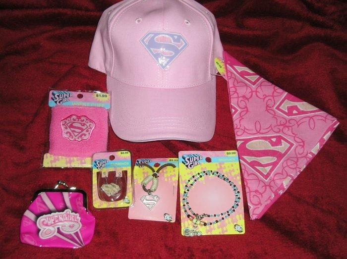 Huge Lot Superman SuperGirl Jewelry, Hat, Bandana,Purse