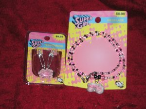 Lot of Superman SuperGirl Jewelry - Necklace & Earrings