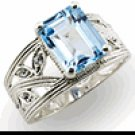 Sterling Silver Aquamarine Ring - Size 7