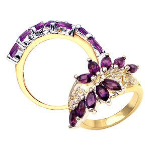 Amethyst and CZ Diamond Ring ~ Size 8