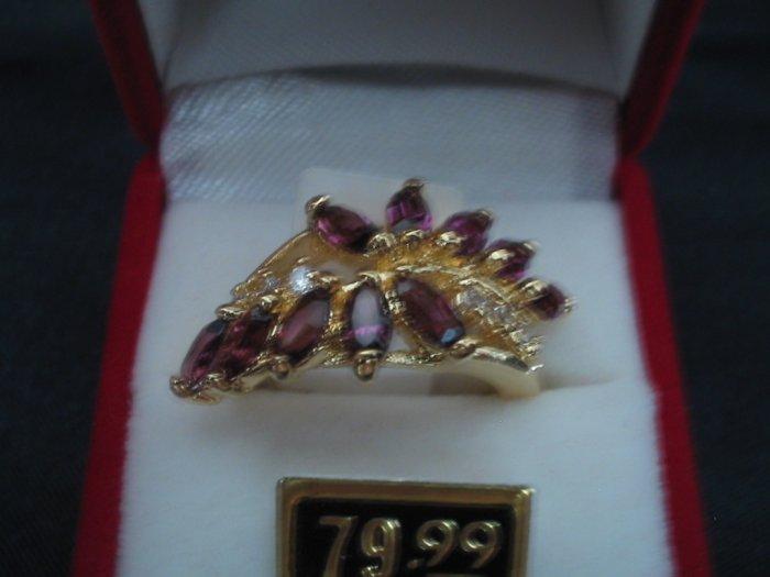 Amethyst & CZ Diamond Ring ~ Size 10