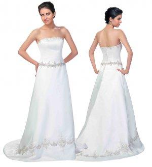 Strapless Satin Wedding Gown