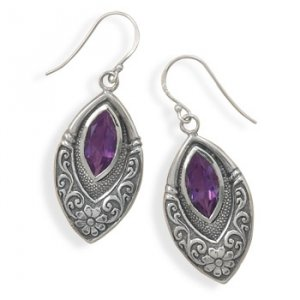 Oxidized Marquise Earrings with Genuine Amethyst