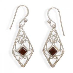Garnet French Wire Scroll Earrings