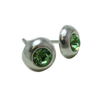 Sterling Silver 8 MM Round Perdiot Crystal Bezel Set Stud Earrings