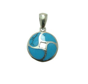 Sterling Silver Round Turquoise Inlay Pendant