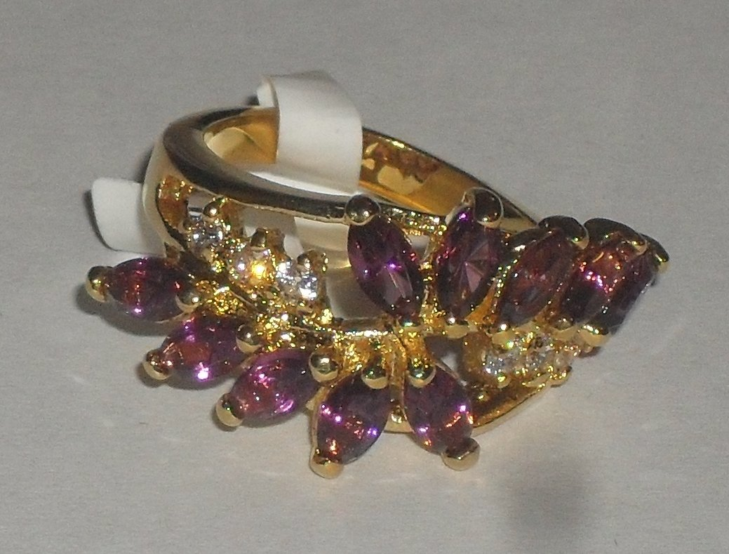 Amethyst & CZ Diamond ring ~ Size 7