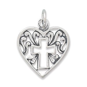 Heart Charm/Pendant with Cross Outline