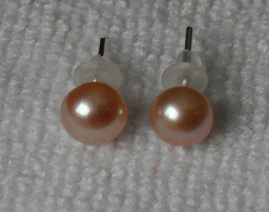 Akoya Cultured Freshwater Pearl Earrings ~ Copper