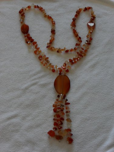 Red Carnelian and Crystal Quartz Necklace