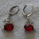 Red Fianit Rabbit Earrings