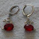 Red Fianit Rabbit Earrings