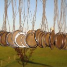 "25 Coffee Stained Metal Rim Hang Tags 1 9/16"" diameter"
