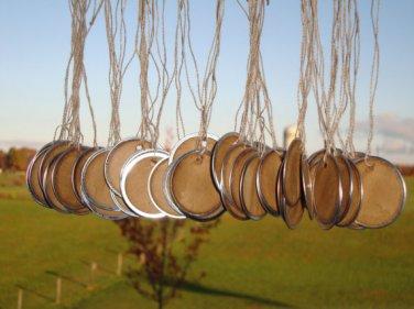 "25 Coffee Stained Metal Rim Hang Tags 1 9/16"" diameter"