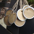 "25 Coffee Stained Metal Rim Hang Tags, sized 1 1/4"" diameter"