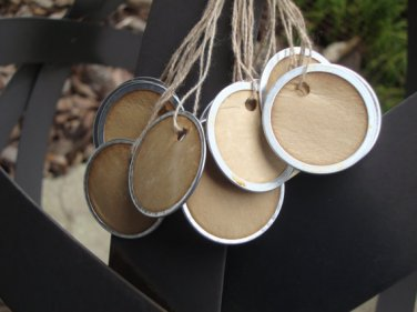 """25 Coffee Stained Metal Rim Hang Tags, sized 1 1/4"""" diameter"""