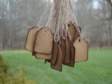 """25 Extra Small Scalloped Hang Tags, Coffee Stained, sized 3/4"""" x 1 3/32"""""""