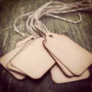 "25 Small Scalloped Hang Tags, Coffee Stained, 1 3/4"" x 1 3/32"""