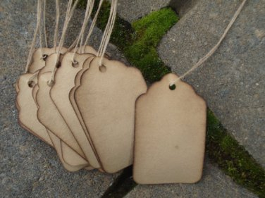 "25 Large Coffee Stained Scalloped Hang Tags, sized 2 3/4"" x 1 11/16"""