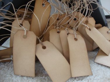 """100 Coffee Stained Hang Tags, sized 2 3/4"""" x 1 3/8"""", Vintage Tags, Antique Tags, Primitive Tags"""