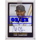 Carl Crawford 2007 Bowman Heritage Signs of Greatness Black #SG-CC Dodgers #02/52