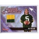 A.J. Hawk 2006 Bowman Rookie Rewind Throwback Jersey RC #BRR-AH Packers