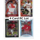 Domonic Brown 4-Card RC Lot  Phillies Bowman Chrome, Finest, Topps Update Phillies