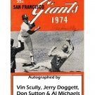 Vin Scully Signed Autographed 1974 Giants Program w/Jerry Doggett, Al Michaels Don Sutton Dodgers