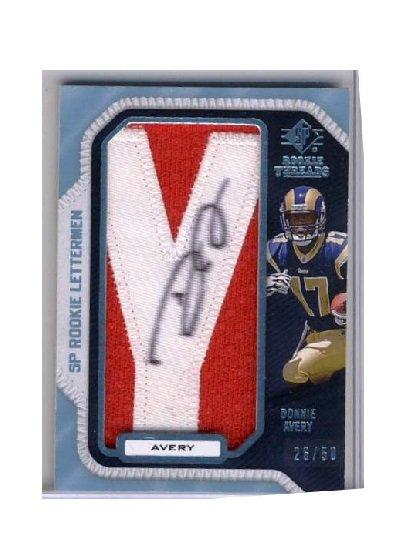 Donnie Avery 2008 SP Rookie Lettermen Autographed Patch RC #DA17 Rams, Chiefs #/50