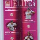 Derek Jeter #/1500 2004 Donruss Elite Teams #ET-6  Wade Boggs, Darryl Strawberry Yankees