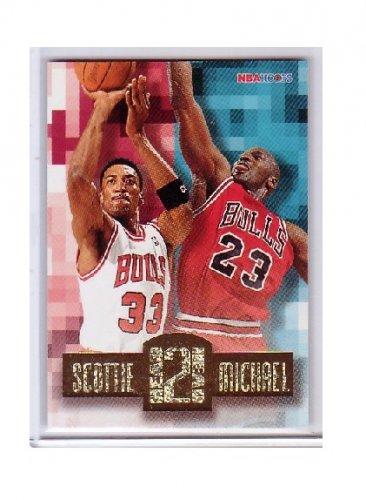 Michael Jordan Insert 1996-97 NBA Hoops Head 2 Head #HH2  w/ Scottie Pippen Bulls HOF