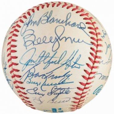 Yankees HOF Signed Autographed Baseball Berra Hunter Murcer Mattingly Rizzuto Slaughter Larsen