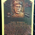 Carl Hubbell Signed Hall of Fame Plaque Postcard HOF New York Giants Autographed 1964 Yellow