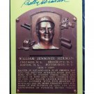 Billy Herman HOF Autographed Signed Yellow Hall of Fame Plaque Postcard Cubs, Dodgers