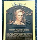 Bob Doerr HOF Autographed Signed Yellow Hall of Fame Plaque Postcard Red Sox
