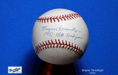 Brooklyn Dodgers Wayne Terwilliger Signed Autographed Official NL Baseball w/Inscription