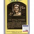 Carl Yastrzemski Signed PSA/DNA Certified Autographed HOF Plaque Postcard Red Sox Induction Day