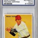 Mark Koenig Signed 1933 Goudey Reprint Authentic Autograph - PSA/DNA Certified Yankees