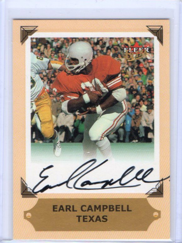 Earl Campbell HOF Auto 2001 Fleer Ultra College Greats Preview Autograph Texas, Oilers, HOF