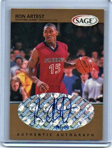 Ron Artest RC Auto #/145 1999 Sage Gold Autographs #A1 Lakers, Bulls Rookie