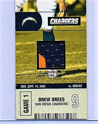 Drew Brees 2-Color 2003 Authentix Ticket Studs Drew Brees Jersey #TS=DB Rare SP Chargers