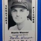 Monte Weaver Signed 1979 Wallin Diamond Greats #70 Authentic Autograph Boston Red Sox, Senators