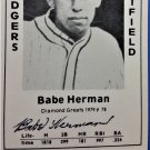 Babe Herman Signed 1979 Wallin Diamond Greats #78 Authentic Autograph Brooklyn Dodgers