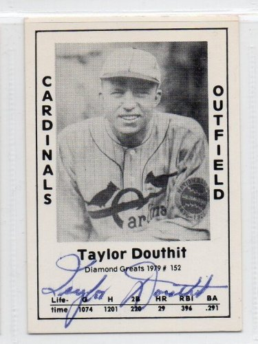 Taylor Douthit Signed 1979 Wallin Diamond Greats #152 Authentic Autograph Cardinals, Reds, Cubs