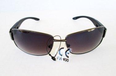 New Semi-Oval Aviator Style Women's Sunglasses With Black Metal Plastic Frame