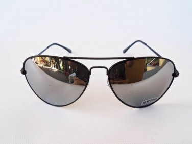 Brand New Mens Oval Sunglasses, Glasses, With Mirror Lens and Black Frames