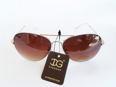 Women's Aviator Oval , Round Shaped Sunglasses With Black, or Brown Lens