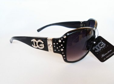 DG Women's Sunglasses With Rhrinestones in Black, Brown and Tortoise Brown