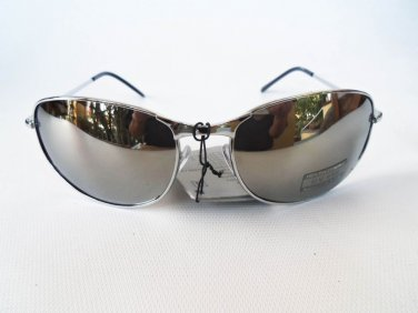 Silver Oval Aviator Men's Sunglasses With Mirror Lens and Silver Metal Frames