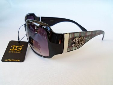 Womens Round Sunglasses With Blue, Brown, Purple, and Stripes Frame